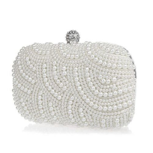 Pearl Bridal Clutch Bag, Pearl Wedding Evening Bag